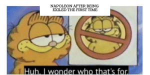 Good old Napoleon: NAPOLEON AFTER BEING  EXILED THE FIRST TIME  Huh. I wonder who that's for Good old Napoleon