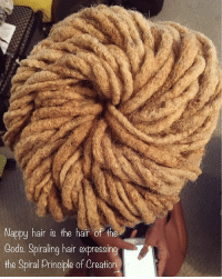Memes, Some More, and Chinese: Nappy hair is the hair of the  Cods. Spiraling hair expressing  the Spiral principle of Creation Some more art that I do 😊. My first company was an all natural hair styling company, where I taught my clients how to grow our own natural, untreated hair without any chinese hair extensions. Our hair is our crown. Take care of it. It also expresses what you take into your body. It will show in your hair. For example, if it's falling out, or if it's thin, or dry; all these are signs that something is going on inside the body. The more natural foods you feed the body, the more nutrients your hair will take in...and grow. naturalhair locs veganfitnessgoddess artist blackart hairgrowth longhair blackhair chemicalfree locsarebeautiful nappyhair happytobenappy locs multitalented naturalhair locgoddess loctitian ceo hairofthegods spiralprinciple creation