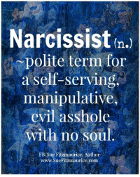 Memes, Politics, and Narcissist: Narcissist  In.)  polite term for  a self-serving,  manipulative,  evil asshole  with no soul  FB/Sue Fitzmaurice, Author  www.SueFitzmaurice.com Get my book 'Purpose' http://amzn.to/2a1yjDA Free e-book: www.suefitzmaurice.com/free-e-book Online course www.suefitzmaurice.com/purpose