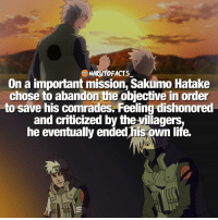 Sad fact about Sakumo 💔 | Kakashi Dad or Guy's Dad 👊🏻 | follow @marvelousfacts: NARM10 FACTS  On a important mission, Sakumo Hatake  chose to abandon the objective in order  to save his comrades. Feeling dishonored  and criticized by the villagers,  he eventually ended his own life. Sad fact about Sakumo 💔 | Kakashi Dad or Guy's Dad 👊🏻 | follow @marvelousfacts