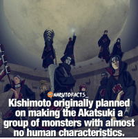 Only Zetsu is not human-like 🤔 | Who's your favorite Villain in entire series? 😈 | follow @marvelousfacts: NAROMTOFACTS  Kishimoto originally planned  on making the Akatsuki a  group of monsters with almost  no human characteristics. Only Zetsu is not human-like 🤔 | Who's your favorite Villain in entire series? 😈 | follow @marvelousfacts