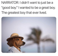 "Memes, Morgan Freeman, and Good: NARRATOR: I didn't want to just be a  ""good boy."" I wanted to be a great boy.  The greatest boy that ever lived. Insert Morgan Freeman"