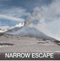 Memes, 🤖, and Bbc: NARROW ESCAPE 17 MAR: A BBC team of journalists and several tourists had to run for cover after they were caught in the middle of Mount Etna exploding in Sicily. Find out more: bbc.in-mountetna MountEtna Etna Volcano Eruption Sicily NarrowEscape Lava Italy BBCShorts BBCNews @BBCNews
