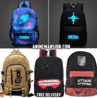 Anime, Memes, and Naruto: NARUTO  ANIMEMANSION.COM.  FREE DELIVERY  ATTACK  ONTTTAN Anime Themed Backpacks from @anime_mansion Discounted prices!!! Shipping is FREE, worldwide ➡ Only at www.ANIMEMANSION.com (Link at BIO) 🔥 Get Yours fast before stock runs out! . anime manga naruto fairytail swordartonline owarinoseraph onepiece tokyoghoul attackontitan cosplay noragami cartoon pokemon otaku hunterxhunter deathnote bleach onepunchman dragonballz haikyuu20