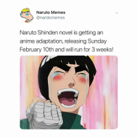 Anime, Memes, and Naruto: Naruto Memes  @nardomemes  Naruto Shinden novel is getting an  anime adaptation, releasing Sunday  February 10th and will run for 3 weeks! finally some good news