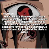 Blade, Memes, and Naruto: NARUTO  Naka Uchiha's Mangekyo Sharingan  greatly resembles that ofitachi Uchihaus  angekyi Sharingan The difference  is that Naka's Sharingan appears to be  a negative form of htachis Sharingan, a  circle around his  pupiland the blade is  wider. For those that don't know, this is in the anime only 👌🏻 | Naka appears when Itachi explains Izanami to Sasuke vs Kabuto 👍| Whose Sharingan looks better, Naka or Itachi? 😍 | I'd still choose Itachi's 🙏 | follow @marvelousfacts