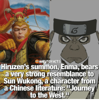 """Journey, Memes, and 🤖: NARUTOFACTS  Hiruzen's summon,Enma, bears  a very strong resemblance to  Sun Wukong, a character from  a Chinese literature: Journey  to the West Has anyone seen """"Journey to the West?"""" 😉 