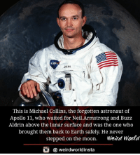 Memes, Nas, and Weird: NAS  ALLINS  This is Michael Collins, the forgotten astronaut of  Apollo 11, who waited for Neil.Armstrong and Buzz  Aldrin above the lunar surface and was the one who  brought them back to Earth safely. He never  stepped on the moon.  Weird World  G a weird worldinsta