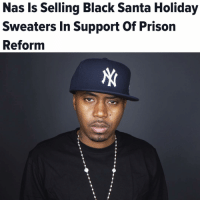black santa: Nas Is Selling Black Santa Holiday  Sweaters in Support of Prison  Reform