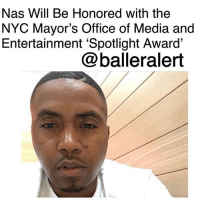 "Complex, Memes, and Music: Nas Will Be Honored with the  NYC Mayor's Office of Media and  Entertainment 'Spotlight Award'  @balleralert Nas Will Be Honored with the NYC Mayor's Office of Media and Entertainment 'Spotlight Award' - blogged by: @ashleytearra ⠀⠀⠀⠀⠀⠀⠀ ⠀⠀⠀⠀⠀⠀⠀ With over twenty-five years in this game of Hip-Hop, no one could ever deny Nas' legendary contribution to the culture… which is exactly why New York City has always been proud to call him one of their own. ⠀⠀⠀⠀⠀⠀⠀ ⠀⠀⠀⠀⠀⠀⠀ According to Complex, the Mayor's Office of Media and Entertainment (MOME) will be honoring the Queens, New York-born lyricist with the 'Spotlight Award'. ⠀⠀⠀⠀⠀⠀⠀ ⠀⠀⠀⠀⠀⠀⠀ The estimable accolade serves as a way to shed light on heavy-hitters in entertainment, such as film, television, music, publishing, digital content, and advertising. ⠀⠀⠀⠀⠀⠀⠀ ⠀⠀⠀⠀⠀⠀⠀ ""His roots run deep in our city. From Brooklyn to Queens, he is a product of New York City public housing and exemplifies what it means to give back,"" MOME Commissioner Julie Menin says. ⠀⠀⠀⠀⠀⠀⠀ ⠀⠀⠀⠀⠀⠀⠀ Menin will be presenting Nas with the honor at Sir Lucian Grainge's 2018 Artist Showcase, which is set to be hosted by the Universal Music Group. ⠀⠀⠀⠀⠀⠀⠀ ⠀⠀⠀⠀⠀⠀⠀ ""As a musician, Nas has made his name known worldwide, helping to put New York City on the map,"" she adds. ""But, beyond that, he's a role model for the next generation of young artists. He leads by example through [his] philanthropic efforts."" ⠀⠀⠀⠀⠀⠀⠀ ⠀⠀⠀⠀⠀⠀⠀ For Nas, the recognition of his many years of accomplishments is actually quite profound and dear to his heart. ⠀⠀⠀⠀⠀⠀⠀ ⠀⠀⠀⠀⠀⠀⠀ ""Anyone who knows me know what New York City means to me, and this is special because of that connection,"" the rapper said."