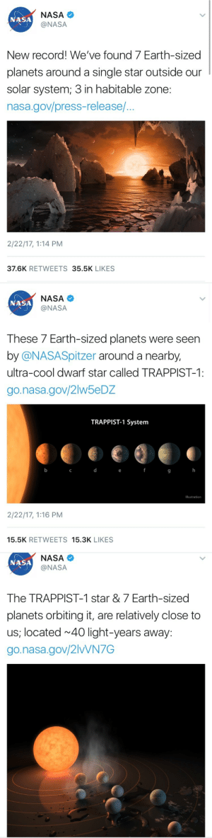 Habitable: NASA  @NASA  NASA  New record! We've found 7 Earth-sized  planets around a single star outside our  solar system; 3 in habitable zone:  nasa.gov/press-release/...  2/22/17, 1:14 PM  37.6K RETWEETS 35.5K LIKES   NASA  @NASA  NASA  These 7 Earth-sized planets were seern  by @NASASpitzer around a nearby,  ultra-cool dwarf star called TRAPPIST-1:  go.nasa.gov/2lw5eDZ  TRAPPIST-1 System  9  Illustration  2/22/17, 1:16 PM  15.5K RETWEETS 15.3K LIKES   NASA  @NASA  NASA  The TRAPPIST-1 star &7 Earth-sized  planets orbiting it, are relatively close to  us, located 40 light-years away:  go.nasa.gov/2lvVN7G