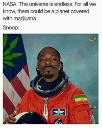 "Low Key, Memes, and Nasa: NASA: The universe is endless. For all we  know, there could be a planet covered  with marijuana  Snoop Hey guys so I was reminiscing times that I fucked up. I need y'all to do something for me, if you're into a guy or a girl and so far it's only texting and sometimes chilling. Do something about it, just go after him-her and ask if they'd wanna do something. Chances are they already do otherwise they wouldn't be texting you anyway. You can keep it low-key the first time and go ""as friends"" but just do something. The first time you chill will be a huge relief because then you're not just sitting there being insecure and avoiding it And shit, if you fail; DM me and we can cry together."