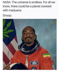 "Memes, Nasa, and Snoop: NASA: The universe is endless. For all we  know, there could be a planet covered  with marijuana  Snoop: <p>I'm on my way via /r/memes <a href=""https://ift.tt/2HMSeVG"">https://ift.tt/2HMSeVG</a></p>"