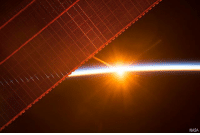 Memes, Nasa, and Earth: NASA This amazing photo from the InternationalSpaceStation shows one of the 16 sunrises the crew of Expedition 52 enjoy every day, as the lab orbits around Earth. On the left you can see one of the solar panels that provides power to the ISS.