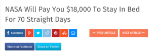 succeeding:WHERE DO I SIGN UP : NASA Will Pay You $18,000 To Stay In Bed  For 70 Straight Days  FACEBOOK&  ← PREV ARTICLE  NEXT ARTICLE →  Share on Facebook  Share on Twitter succeeding:WHERE DO I SIGN UP