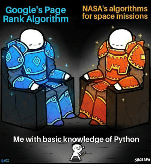 My confidence is at Level 1000 😂😂😂: NASA's algorithms  for space missions  Google's Page  Rank Algorithm  G  +  +  Me with basic knowledge of Python  SRGRAFO  My confidence is at Level 1000 😂😂😂