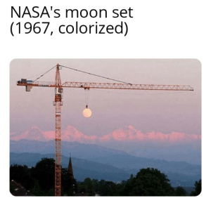 Duh cuz the earth's flat: NASA's moon set  (1967, colorized) Duh cuz the earth's flat