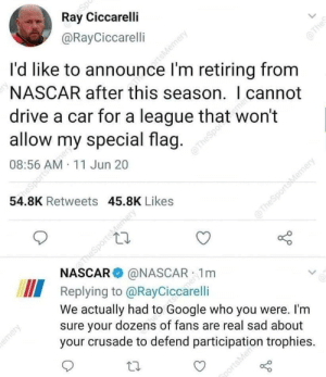 NASCAR with the sick burn against a confederate flag waving ex-driver.: NASCAR with the sick burn against a confederate flag waving ex-driver.