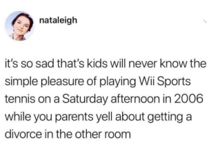 The good old days by xBustItOpenx MORE MEMES: nataleigh  it's so sad that's kids will never know the  simple pleasure of playing Wii Sports  tennis on a Saturday afternoon in 2006  while you parents yell about getting a  divorce in the other room The good old days by xBustItOpenx MORE MEMES