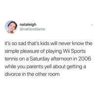 Memes, Parents, and Sports: nataleigh  @natisnotlame  it's so sad that's kids will never know the  simple pleasure of playing Wii Sports  tennis on a Saturday afternoon in 2006  while you parents yell about getting a  divorce in the other room Hey ladies