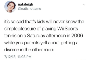 Meirl by DisDudeForReal MORE MEMES: nataleigh  @natisnotlame  it's so sad that's kids will never know the  simple pleasure of playing Wi Sports  tennis on a Saturday afternoon in 2006  while you parents yell about getting a  divorce in the other room  7/12/18, 11:03 PM Meirl by DisDudeForReal MORE MEMES