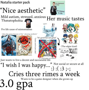 "Life, Lmao, and Music: Natalia starter pack  too depressed  to live  utre  ""Nice aesthetic""  Mild autism, stressed, anxious Her music tastes  Thanatophobia  too scared  to die  MARIO BROS  OK COMPUTER  Pro life cause of existentialism  Likes the games because of the "" pleasing aesthetic""  PC D  ""It's good but not great""  (The edgier kind)  BAVONELA  TEEK  T  CAPCOM  SUPER  SMASH BRES  M  CLOVER  I JUSE  don't know  U LTIMAT  anymore..  ""It's a party game, you buffoon""  Just wants to live a decent and succsessful life  ""I wish I was happy....) :( :3;-  Not social or secure at all  Cries three rimes a week  Wants to be a game designer when she grows up  3.0 gpa  ""Lmao you're just salty"" The u/SylvetubeTali starterpack"