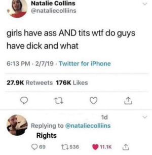 If you laugh , you loose!: Natalie Collins  @nataliecolliins  girls have ass AND tits wtf do guys  have dick and what  6:13 PM 2/7/19 Twitter for iPhone  27.9K Retweets 176K Likes  1d  Replying to @nataliecolliins  Rights  t536  11.1K  69 If you laugh , you loose!