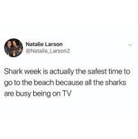 Scuba Time: Natalie Larson  @Natalie Larson2  Shark week is actually the safest time to  go to the beach because all the sharks  are busy being on TV Scuba Time