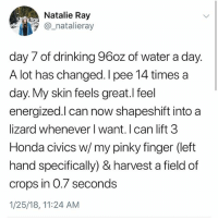 Does anyone else avoid drinking water bc they are too lazy to pee?: Natalie Ray  _natalieray  day 7 of drinking 96oz of water a day.  A lot has changed. I pee 14 times a  day. My skin feels great.l feel  energized.l can now shapeshift into a  lizard whenever l want. I can lift 3  Honda civics w/ my pinky finger (left  hand specifically) & harvest a field of  crops in 0.7 seconds  1/25/18, 11:24 AM Does anyone else avoid drinking water bc they are too lazy to pee?