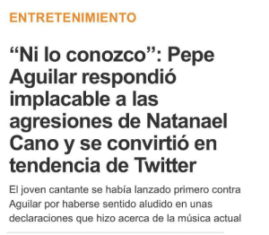 Natanael Cano tried to beef with Pepe Aguilar over his opinions on today's music and Pepe replied by saying he doesn't even know him. 2020 is a weird timeline: Natanael Cano tried to beef with Pepe Aguilar over his opinions on today's music and Pepe replied by saying he doesn't even know him. 2020 is a weird timeline
