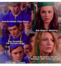Memes, Gossip Girl, and 🤖: Nate Archibald: Class Whore  Blair Waldorf: Weakling  an Humphrey:  the Ultimate Insider  BLAKERELATED 2z25  and as for Serena van der  Woodsen, after today, you are  Chuck Bass: Coward ''Not so fast. You're not graduating until I give you my diplomas. Mine are labels, and labels stick. Nate Archibald: Class whore. Dan Humphrey: The ultimate insider. Chuck Bass: Coward. Blair Waldorf: Weakling. And as for Serena van der Woodsen, after today, you are officially irrelevant. Congratulations, everyone. You deserve it.''- Gossip Girl.