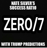 NATE SIWERTS  SUCCESS RATIO  ZERO/7  WITH TRUMP PREDICTIONS http://dailycaller.com/2016/05/04/7-times-nate-silver-was-hilariously-wrong-about-donald-trump/