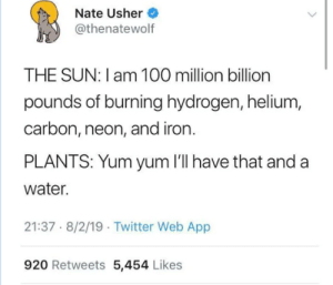 hydro-homies:Plants, the OG hydrohomies: Nate Usher  @thenatewolf  THE SUN: I am 100 million billion  pounds of burning hydrogen, helium,  carbon, neon, and iron.  PLANTS: Yum yum 'll have that and a  water.  21:37 8/2/19 Twitter Web App  920 Retweets 5,454 Likes hydro-homies:Plants, the OG hydrohomies