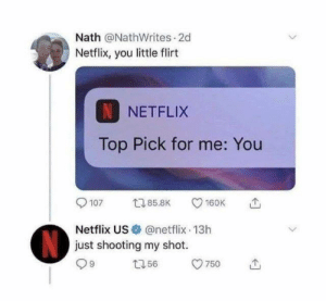 Dank, Netflix, and 🤖: Nath @NathWrites 2d  Netflix, you little flirt  NETFLIX  Top Pick for me: You  107 5.8 160K  Netflix US@netflix 13h  just shooting my shot.  9  750