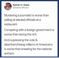 National Anthem, Restaurant, and Government: Nathan H. Rubin  @NathanHRubin  Murdering a journalist is worse than  yelling at elected officials at a  restaurant.  Conspiring with a foreign government is  worse than taxing the rich.  And supressing the vote &  disenfranchising millions of Americans  is worse than kneeling for the national  anthem. It's simple, really.