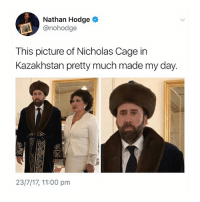 Meme, Memes, and Kazakhstan: Nathan Hodge  @nohodge  This picture of Nicholas Cage in  Kazakhstan pretty much made my day.  23/7/17, 11:00 pm a meme, personified