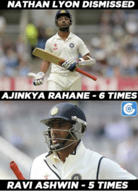 Memes, 🤖, and Ashes: NATHAN LYON DISMISSED  Star  AJINKYA RAHANE 6 TIMES  RAVI ASH WIN 5 TIMES Both Ajinkya Rahane and Ashwin Ravi got out to Nathan Lyon the most no. of times in their Test career.