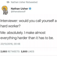 Usher, Humans of Tumblr, and Make: Nathan Usher Retweeted  Nathan Usher  @thenatewolf  DE  Interviewer: would you call yourself a  hard worker?  Me: absolutely. I make almost  everything harder than it has to be.  23/10/2016, 00:48  2,693 RETWEETS 3,800 LIKES