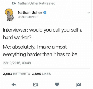 Usher, Make, and You: Nathan Usher Retweeted  Nathan Usher  @thenatewolf  Interviewer: would you call yourself a  hard worker?  Me: absolutely. I make almost  everything harder than it has to be.  23/10/2016, 00:48  2,693 RETWEETS 3,800 LIKES  17 Are you a hard worker?