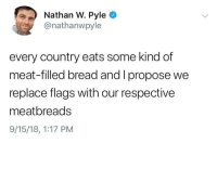 Bread, Flags, and Meat: Nathan W. Pyle  @nathanwpyle  every country eats some kind of  meat-filled bread and I propose we  replace flags with our respective  meatbreads  9/15/18, 1:17 PM