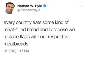 Dank, Memes, and Target: Nathan W. Pyle  @nathanwpyle  every country eats some kind of  meat-filled bread and I propose we  replace flags with our respective  meatbreads  9/15/18, 1:17 PM Meat-Filled Bread by armandcraz MORE MEMES