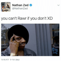 Memes, 🤖, and Zed: Nathan Zed  (a Nathanzed  you can't Rawr if you don't XD  2/2/17 2.21 pM ✔️
