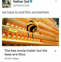 Bee Movie, Bees, and Trendy: Nathan Zed  @Nathan Zed  we have to end this somewhere  HONEY  The bee movie trailer but the  bees are thicc  43,317 views thiccc