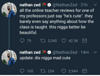 """<p>Four stars (via /r/BlackPeopleTwitter)</p>: nathan zed@NathanZed 21h  all the online teacher reviews for one of  my professors just say """"he's cute"""". they  barely even say anything about how the  class is taught. this nigga better be  beautiful  79 ta 3,340  42.5K  nathan zed@NathanZed 14m  update: dis nigga mad cute  100 ti 254 2,944 <p>Four stars (via /r/BlackPeopleTwitter)</p>"""