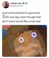 Memes, 🤖, and Zed: nathan zed  @NathanZed  I just remembered it's gonna be  2030 one day even though that  don't even sound like a real year 🤣😂