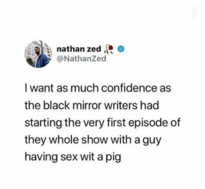 meirl: nathan zed  @NathanZed  I want as much confidence as  the black mirror writers had  starting the very first episode of  they whole show with a guy  having sex wit a pig meirl