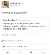 Crying, Girl, and Women: Nathan Zed  @NathanZed  maybe she just chillin  Relationship @ohteenquotes  When a girl is silent, she's either over-  thinking, tired of waiting, falling apart, crying  inside, or all of the above.  2/23/16, 5:06 PM  VIEW TWEET ACTIVITY  7,961 RETWEETS 9,406 LIKES <p>Women: anytime they aren&rsquo;t incessantly babbling, they are experiencing some sort of emotional/mental breakdown.</p>
