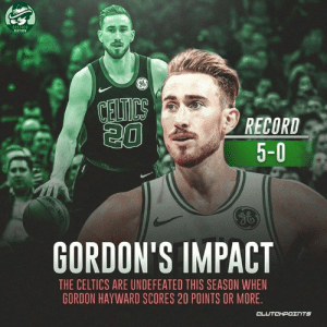 The East has a huge problem if Gordon Hayward turns up the heat in playoffs 🔥 __ Follow @celticsnationcp if you're a real celtics fan!: NATION  6  sa  RECORD  5-0  GORDON'S IMPACT  THE CELTICS ARE UNDEFEATED THIS SEASON WHEN  GORDON HAYWARD SCORES 20 POINTS OR MORE.  CL The East has a huge problem if Gordon Hayward turns up the heat in playoffs 🔥 __ Follow @celticsnationcp if you're a real celtics fan!
