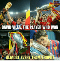 Memes, Barca, and David Villa: NATION  DAVID VILLA THE PLAYER WHO WON  ST  ALMOST EVERY TEAM TROPH David Villa!   Via: The Barça Nation