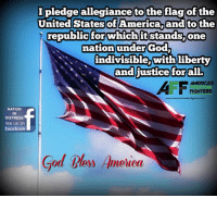 Memes, Patriotic, and Good Morning: NATION  IN  DISTRESS  like us on  facebook  pledge allegiance to the flag of the  United States of America and to the  republic for which it stands one  nation under God,  indivisible, with liberty  and justice for all.  AMERICAS  FIGHTERS  www.americasfreedomfighter com  God bloys Almeluea Good morning Patriots and God Bless!